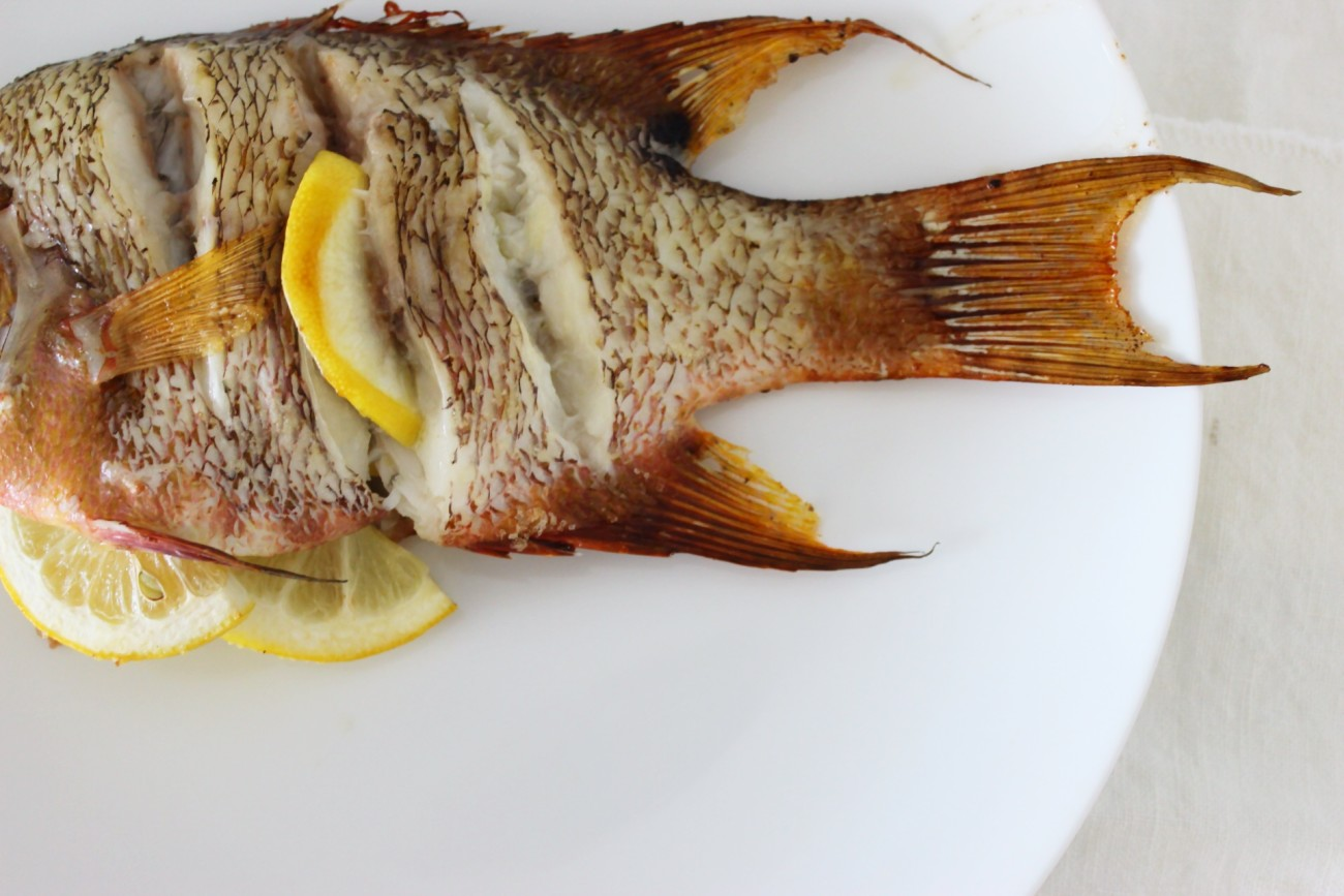 Whole Roasted Hogfish Snapper