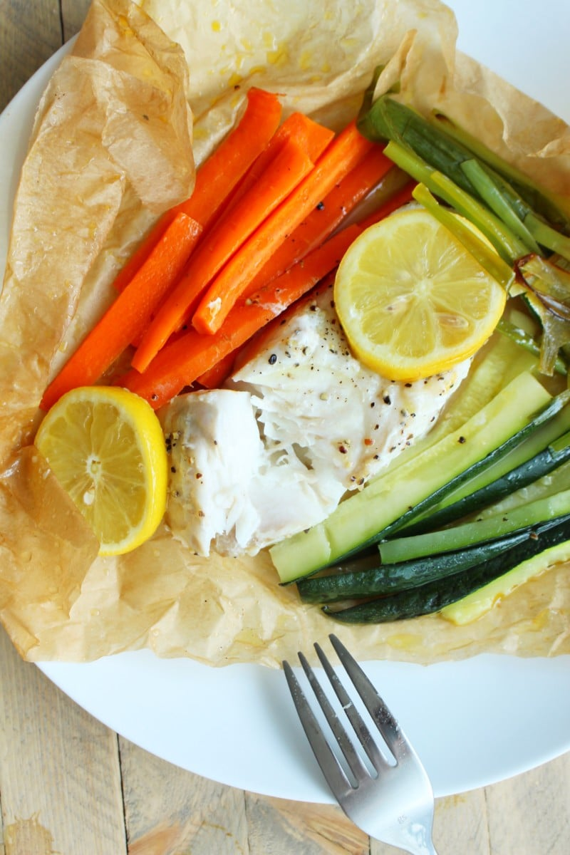 Parchment Baked Halibut with Veggies