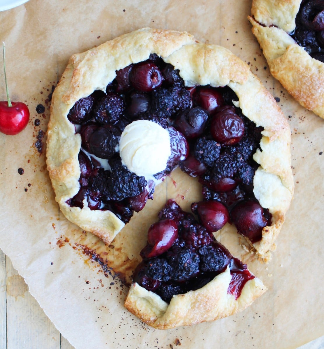 Cherry and Blackberry Galette