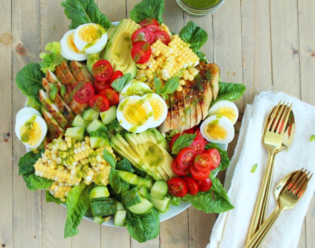Chicken Cobb Salad with Basil Vinaigrette