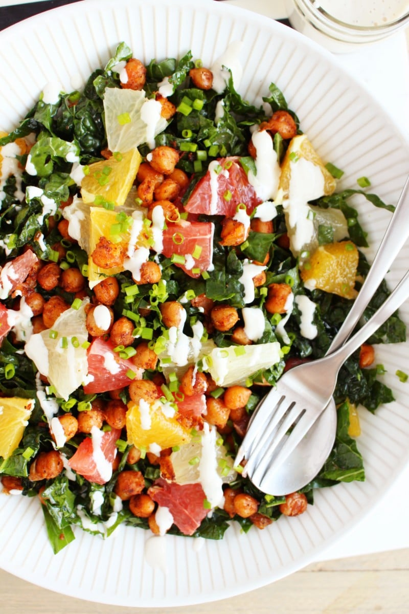 Citrus Chickpea and Kale Salad