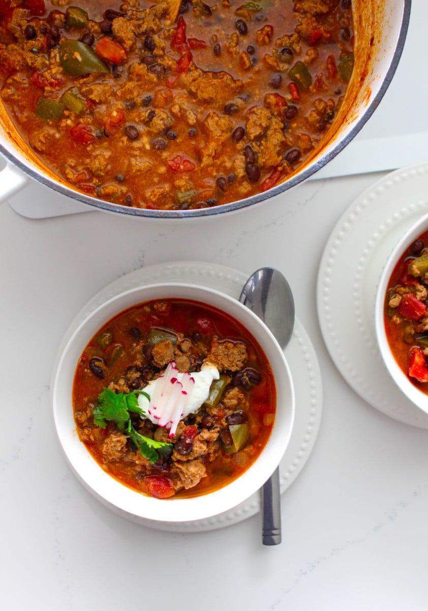 black bean and ground chicken chili